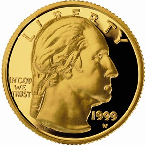 1999 George Washington Commemorative Gold Coin - Obverse
