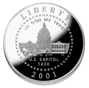 2001 US Capitol Visitor Center Half-Clad Silver Coin - Obverse