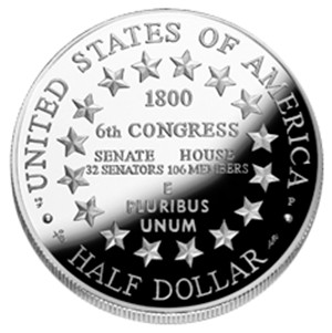 2001 US Capitol Visitor Center Half-Clad Silver Coin - Reverse