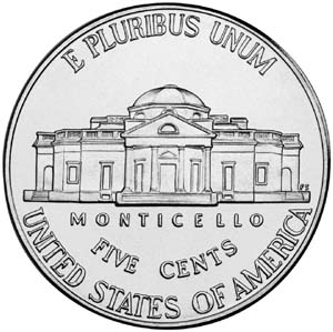 "2009 ""Return to Monticello"" Jefferson Nickel - Reverse"