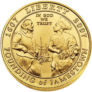 2007 Jamestown 400th Anniversary $5 Gold Coin - Obverse