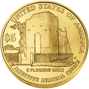 2007 Jamestown 400th Anniversary $5 Gold Coin - Reverse
