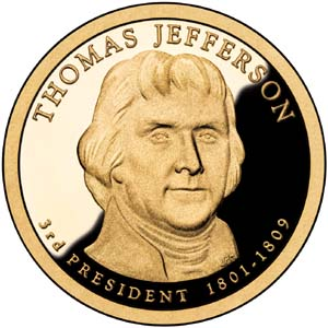 Thomas Jefferson 2007 Presidential  $1  Dollar