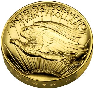 Ultra High Relief Double Eagle Gold $20 Coin - Reverse
