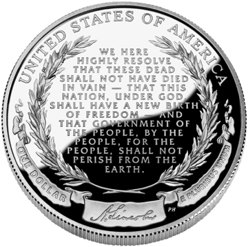 Abraham Lincoln Commemorative Silver Dollar - Reverse