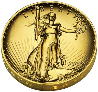 Ultra High Relief Double Eagle Gold $20 Coin - Obverse